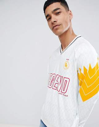 Asos DESIGN oversized jersey with sports print in white