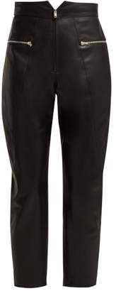 Isabel Marant Cyril Cropped Leather Trousers - Womens - Black