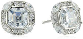 "Swarovski Platinum-Plated Sterling Silver Zirconia Celebrity""Pippa"" Asscher Cut Antique Stud Earrings"