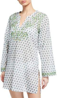 Johnny Was Azalea Embroidered Long-Sleeve Tunic