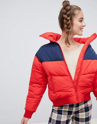 Monki short puffer jacket in red