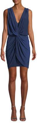 MISA Los Angeles Leza Gathered Sleeveless Crossover Dress