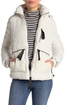 GUESS Ribbon Seam Faux Fur Trim Hooded Jacket