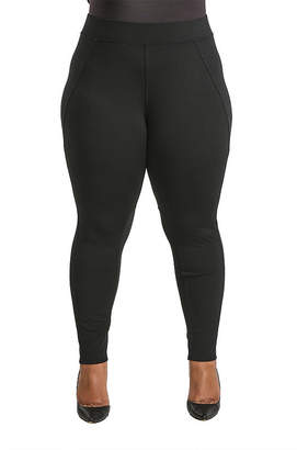 POETIC JUSTICE Poetic Justice Ponte Moto Style Pieced Pull On Pant - Plus