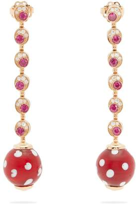 Francesca Villa Pois Pois diamond and ruby rose-gold earrings