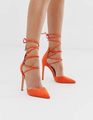 Public Desire Classy orange ankle tie heeled shoes