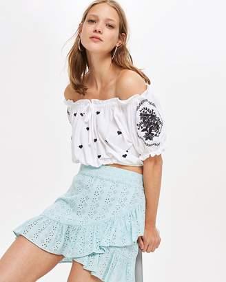 Topshop Broderie Ruffle Mini Skirt