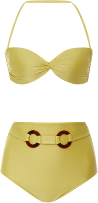 Adriana Degreas belted high waist bandeau bikini set