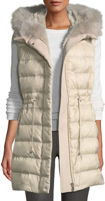 Pologeorgis Quilted Hooded Sport Puffer Vest w/ Fur Lining