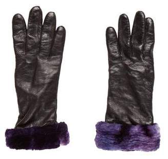 Neiman Marcus Leather Fur-Trimmed Gloves