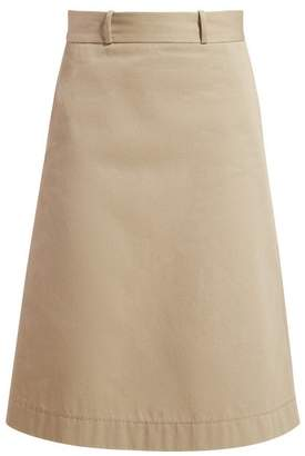 Bottega Veneta Back Button A Line Cotton Skirt - Womens - Beige