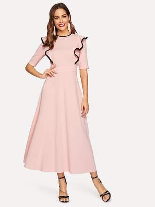 cd94ea060e50 Shein Contrast Binding Ruffle Trim Fit & Flare Hijab Dress