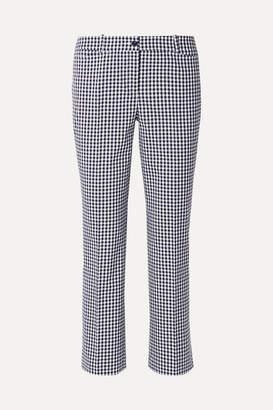 Michael Kors Cropped Gingham Cotton-blend Straight-leg Pants - Blue