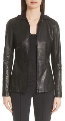 Lafayette 148 New York Ponte Panel Leather Jacket
