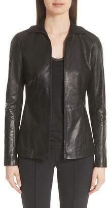 Lafayette 148 New York Ponte Panel Leather Jacket