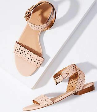 LOFT Eyelet Ankle Strap Flat Sandals