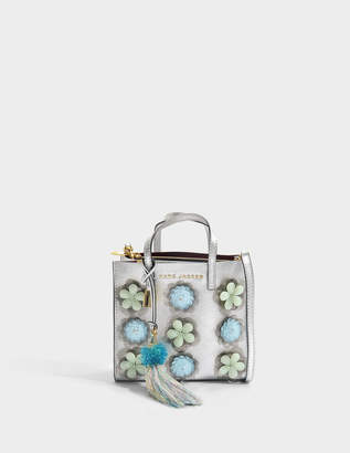 Marc Jacobs The Mini Grind Embellished Flowers Bag in Silver Cow Leather with Metallic Foil