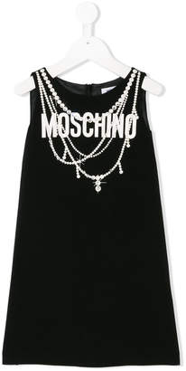 Moschino Kids pearl print straight dress