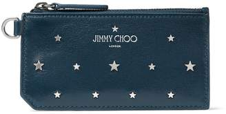 Jimmy Choo INGO Indigo Leather Card Holder with Silver Flat Star Stud Design
