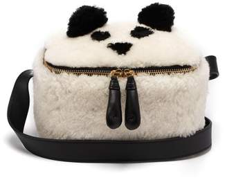 Anya Hindmarch Panda Shearling Lunch Box Bag - Womens - White Multi