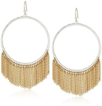 Canvas Womens Silver Tone Gold Chain Fringe Hoop Earrings