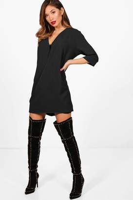 boohoo Wrap Front Shift Dress