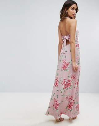 Asos Design Maxi Dress with Open Back in Floral Print