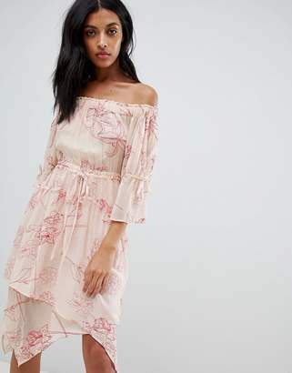 AllSaints off-shoulder floral embroidered dress