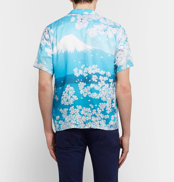 Blue Blue Japan Camp-Collar Printed Woven Shirt 6