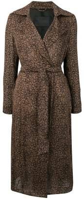 Herno floral print belted coat