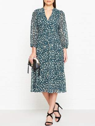 Whistles Adrianna Cheetah Print Midi Dress - Green