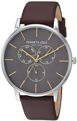 Kenneth Cole New York Men's Quartz Stainless Steel and Leather Casual Watch