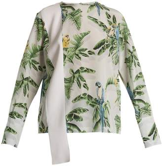 Stella McCartney Parrot-print silk crepe de Chine top