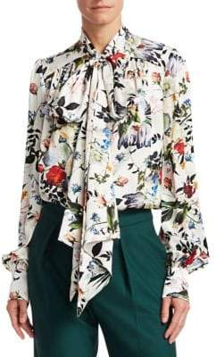 Erdem Lucien Silk Floral Blouse