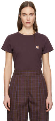 MAISON KITSUNÉ Burgundy Fox Head Patch T-Shirt
