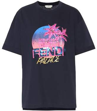 Fendi Cotton sequined logo T-shirt