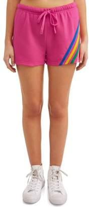 No Boundaries Juniors' rainbow striped soft fleece short
