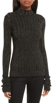 Theory Wide Ribbed Metallic Merino Wool Sweater