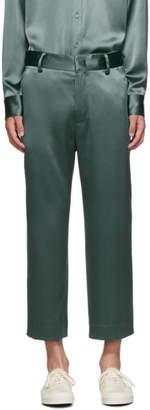Sies Marjan Green Crinkled Satin Cropped Alex Trousers