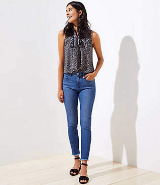 LOFT Sustainable Style Side Painted Slim Pocket High Rise Skinny Jeans