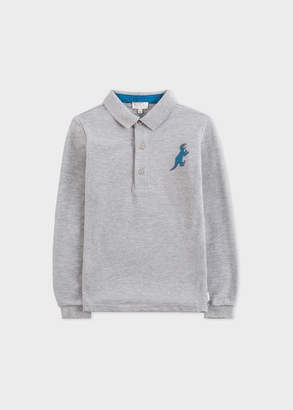 Paul Smith Boys' 8+ Years Grey Marl 'Dino' Long-Sleeve Polo Shirt