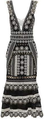 Jonathan Simkhai Lattice-Trimmed Eyelet-Embellished Guipure Lace Midi Dress