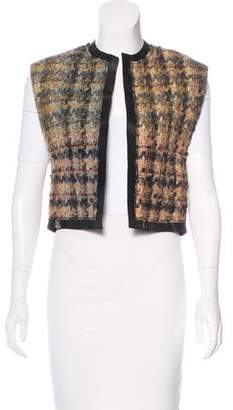 Celine Tweed Leather-Trimmed Vest