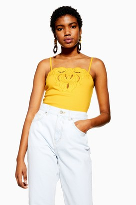 Topshop Womens Petite Cut Out Trim Cami - Yellow