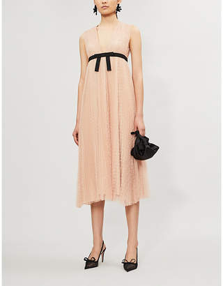 RED Valentino Dotted pleated sleeveless mesh midi dress