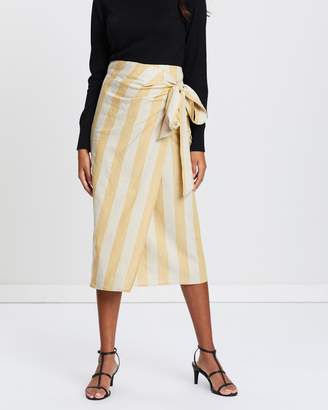 Mng Striped Linen-Blend Skirt