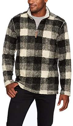 True Grit Men's Soft Melange Solid and Plaid Blanket 1/4 Zip Pullover
