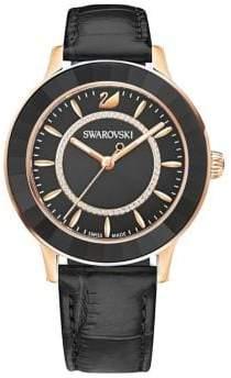 Swarovski Octea Lux Stainless Steel, Crystal Leather-Strap Watch