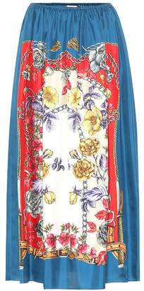 Gucci Boudoir-printed silk skirt