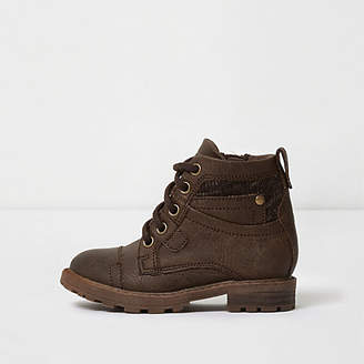 River Island Mini boys brown lace-up utility boots